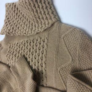 Theory waffle knit wool turtleneck sweater